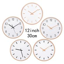 Wall Clock Wood Silent Non Ticking Large Wall Clocks For Kitchen Room Wooden Hand Simple Concise Home Decor original xiaomi mijia mute movement round wooden wall clock non ticking simple style home kitchen office decoracion wall clock