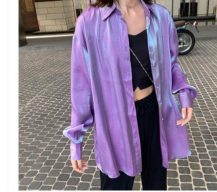 2019 Vinatge Chic Women Gradient Shirts Lady Loose Glossy Bling Bling Shirts Korean Women Gradiend Rose Red Shiny Blouses Tops