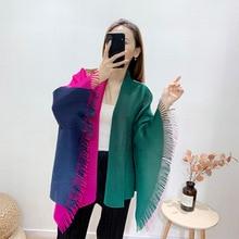 LANMREM Loose Patchwork Shawl Pleated-Coat Spring Color-Block Tassel Lapel YK036 Elegant