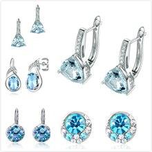Delicate Crystal Earrings For Women Wedding Engagement Party Cubic Zirconia Girl Gift Blue Zircon Eardrop R5
