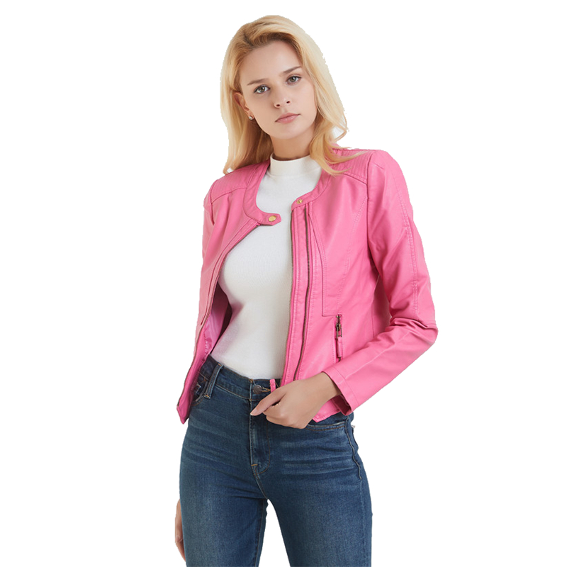Cute Pink Irregular Cropped Faux   Leather   Biker Jacket for Women Fashion Ladies Collarless Petite PU   Leather   Jacket Coat