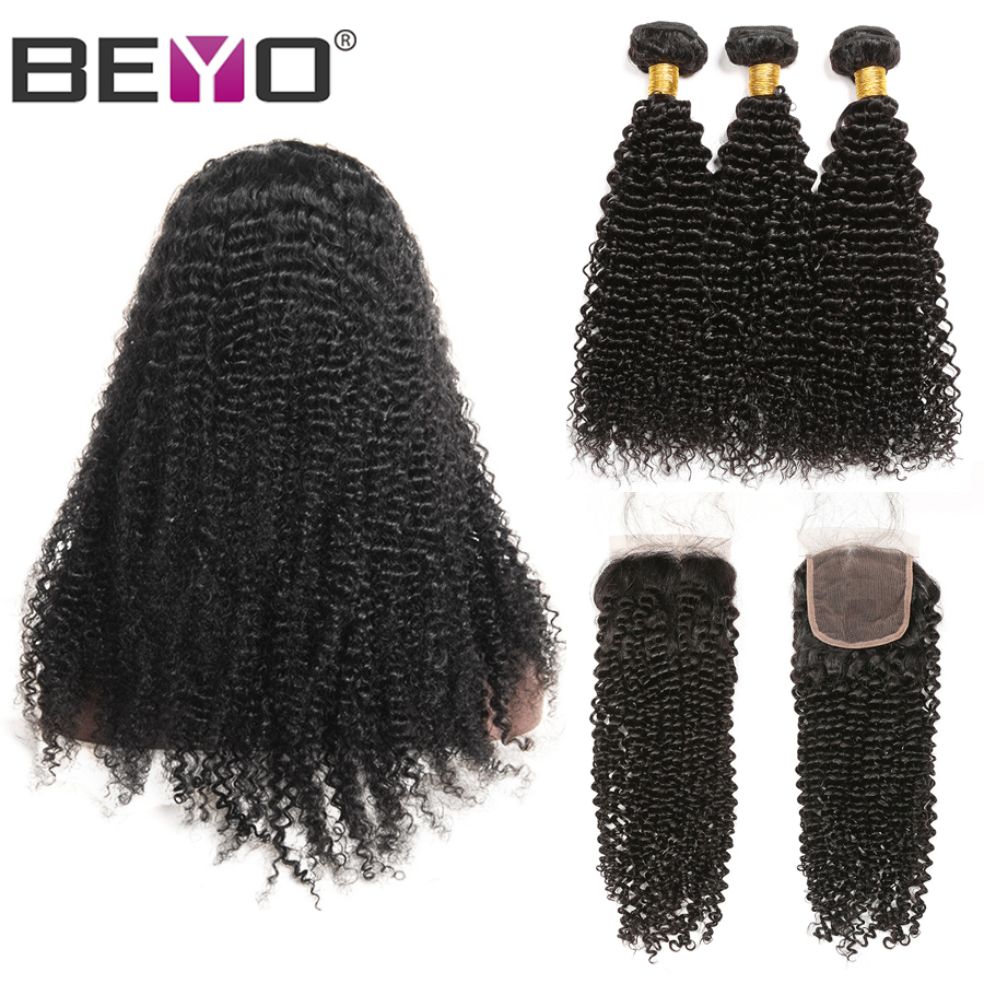 Brazilian Kinky Curly Wig 300% Density Free Custom Lace Wigs By Remy Human Hair Bundles With Closure Beyo 4X4 Closure Wig