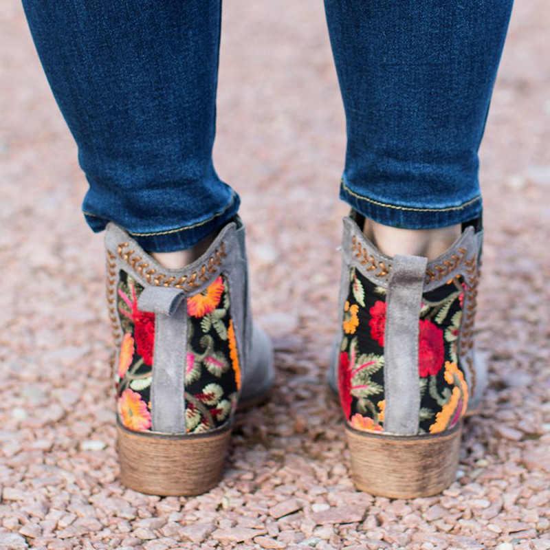 Puimentiua Baskı yarım çizmeler Kadın Sonbahar Kış Kadın Kadınlar Üzerinde Kayma Rahat yarım çizmeler platform ayakkabılar Kadın Flats Artı boyutu