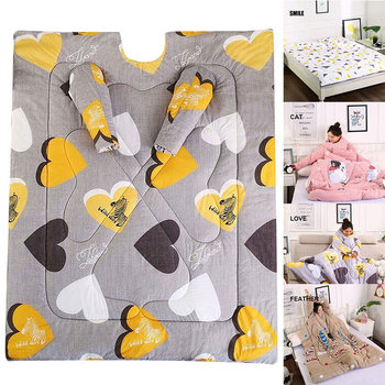 Newly Lazy Wearable Sleeping Quilt Blanket with Sleeves Thick Warm Winter Home Bedding MK