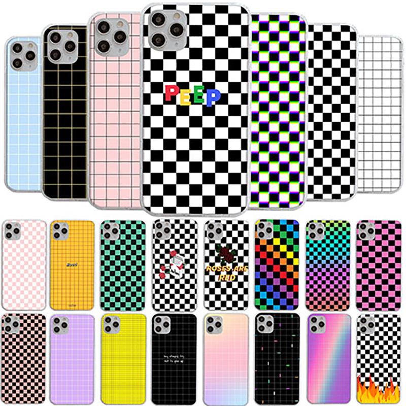 3D Luxury Cute Cartoon Black and white chess board Soft silicone phone <font><b>case</b></font> for <font><b>iphone</b></font> X XR XS 11 Pro Max 6S 7 8 plus 5 <font><b>5s</b></font> cover image