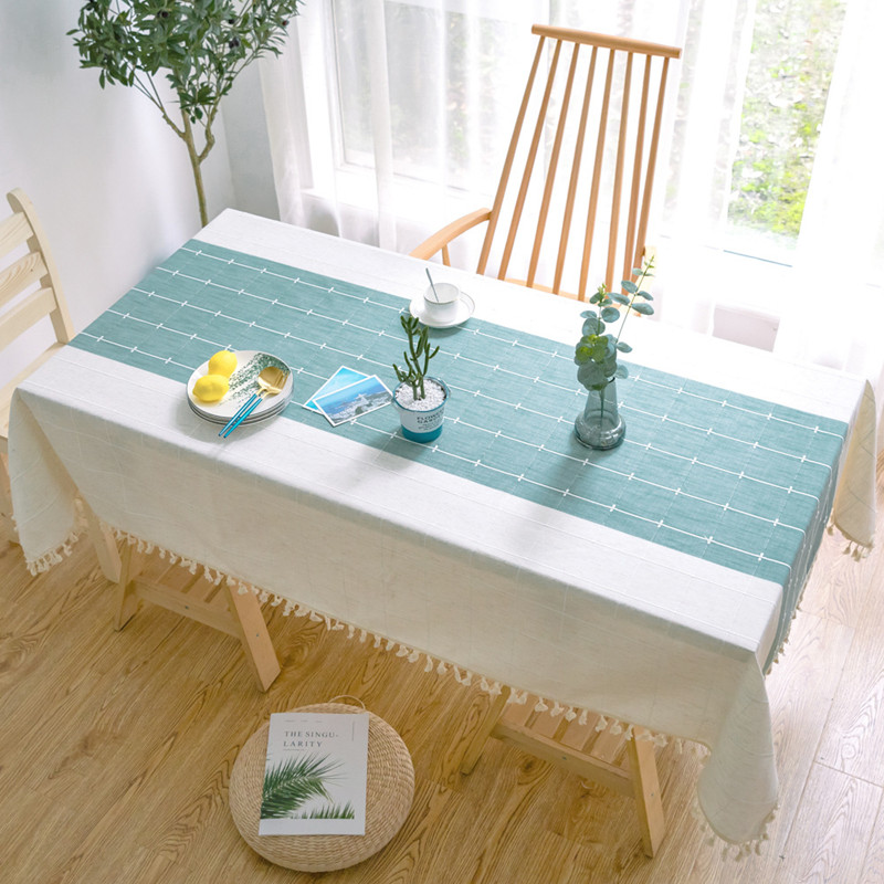 Creative Plaid Decorative Linen Tablecloth With Tassel Waterproof Oilproof Thicken Rectangular Wedding Dining Tea Table Cloth
