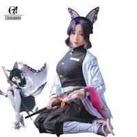 ROLECOS Anime Demon Slayer Cosplay Costumes Kochou Shinobu Cosplay Costume Halloween Women Kimetsu No Yaiba Uniform Cloak