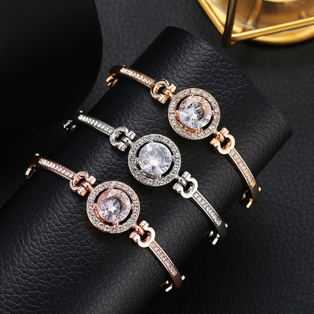 Fashion Luxury Rhinestone Zircon Multi-Layer Bangle Bracelet Rose Gold Round Rhinestone Charm Bracelet for Women Girls Gift