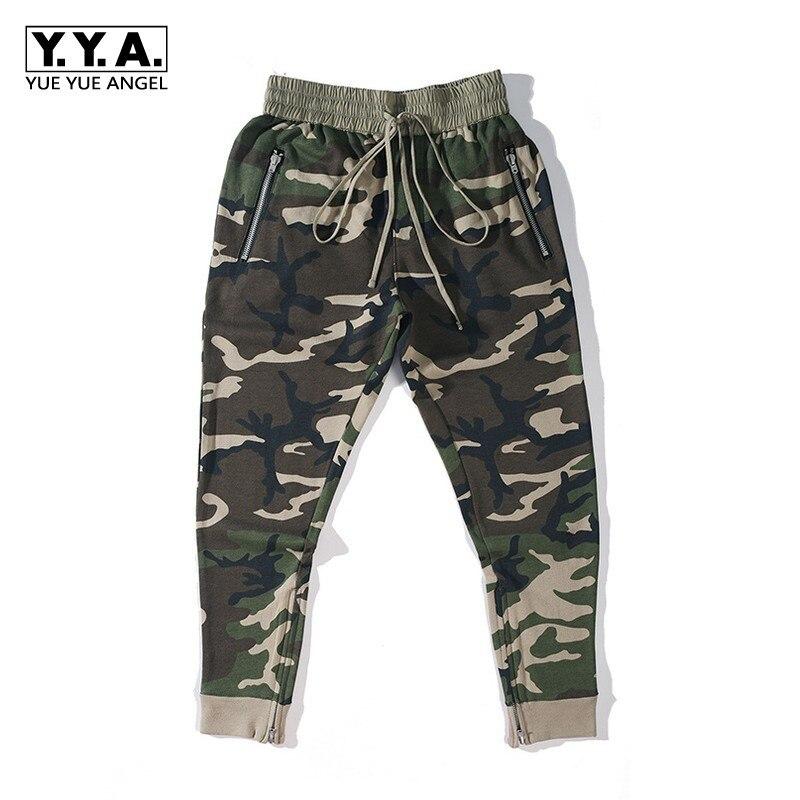 High Street Mens Camouflage Printed Jogger Harem Pants Zipper Elastic Waist Baggy Pants Casual Sweatpants Fashion Long Trousers