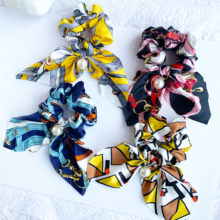 CHENYAN Women's Fashion Headband Printed Elastic Hair Band Bow Rubber Rope Silk Elastic Hair Band Hair Accessories DCQ01(China)