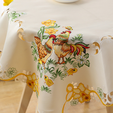 Hot Europe Square 85cm cartoon Easter satin Lace Embroidered table cover cloth towel kitchen tablecloth party birthday decor