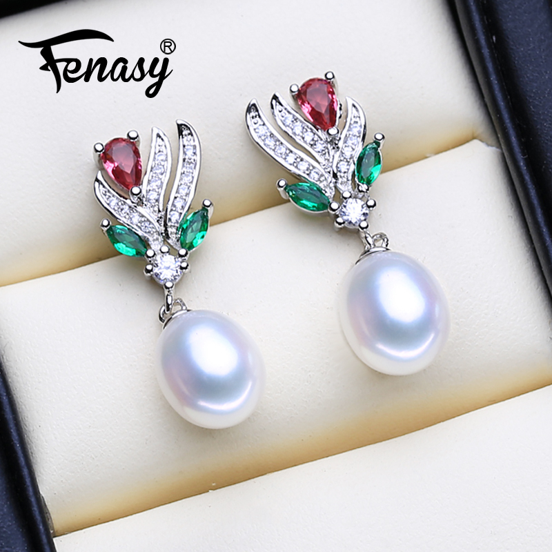FENASY 925 Sterling Silver Stud Earrings Natural Freshwater Pearl Earrings For Women Fashion Evening Party Wedding Fine Jewelry