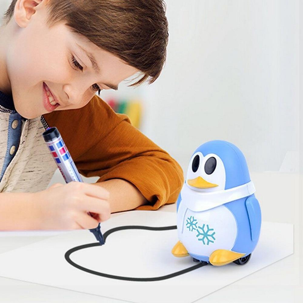 Inductive Train Magic Pen Educational Toy Cartoon Robot Penguin Follow Any Line You Draw Drawn Xmas Gift Fo Kid
