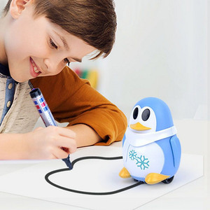 Inductive Train Magic Pen Educational Toy Cartoon Robot penguin Follow Any Line You Draw Drawn Xmas Gift fo kid