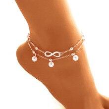 Европа и Америка-стиль горячие продажи жемчуг 8-слово браслет на ногу ручная работа, браслет из бусин двухслойные браслеты Универсальный Coo