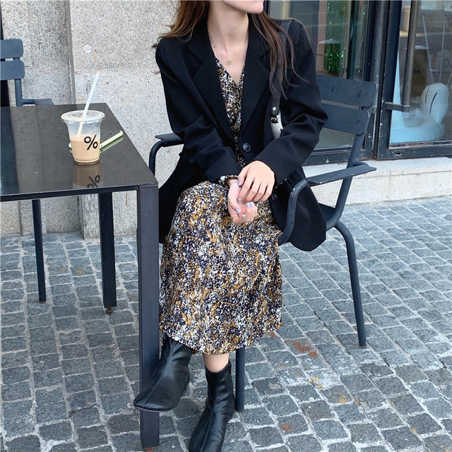 New suits Female Vintage Autumn Office Ladies Notched Collar BLACK Women Blazer Breasted Jacket Casual Pockets Female Suits Coat 4