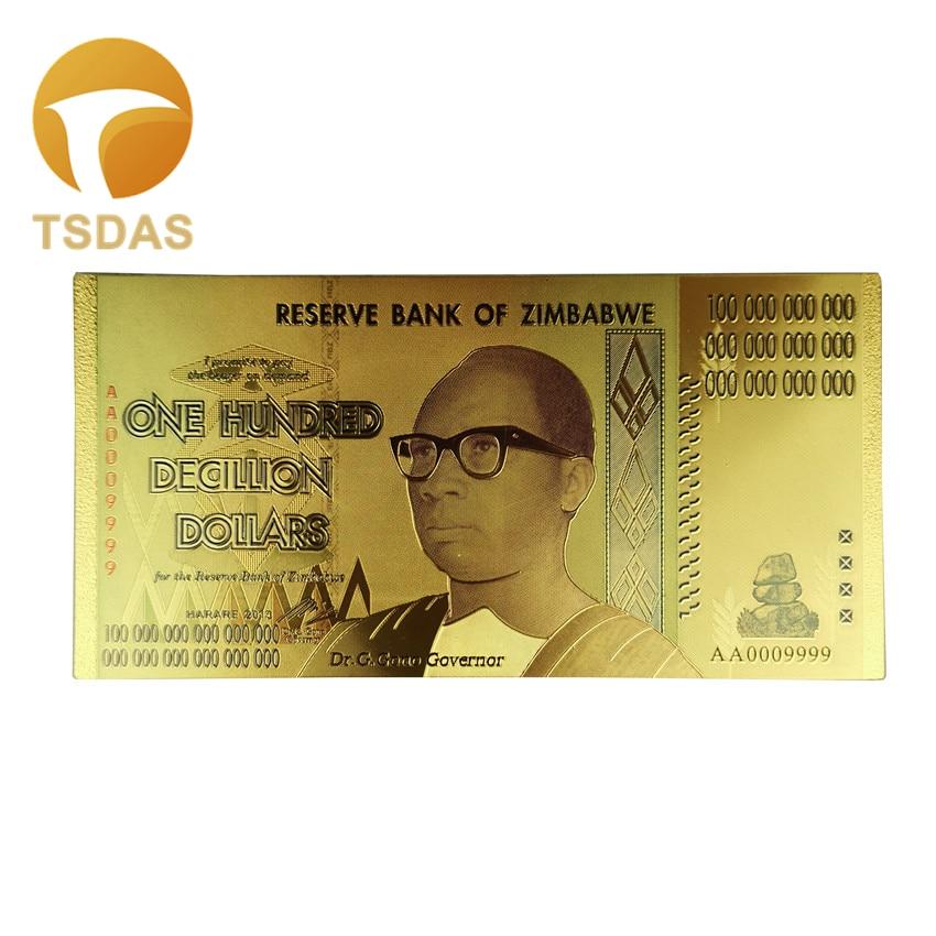 Drop Shipping 1pc Zimbabwe Banknotes 100 Decillion Dollars Gold Fake Banknotes