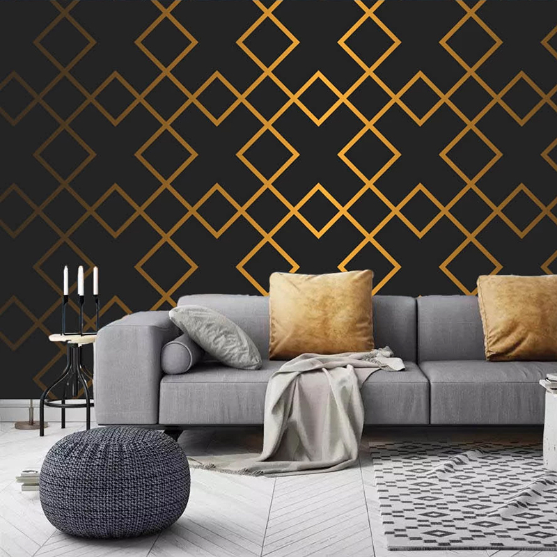 Custom Mural 3D Golden Abstract Geometric Lattice Study Room Living Room TV Background Wall Painting Modern Wallpaper Home Decor