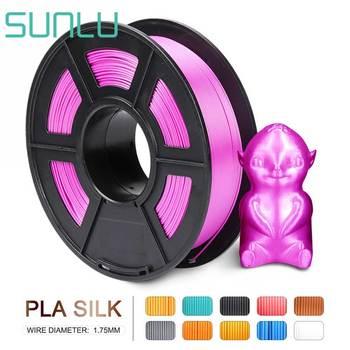 SUNLU Silk 3D PLA Filament 1 75mm 1kg blisko jedwabiu uczucie 3D drukarka żarnik materiał przyjazny dla środowiska Filament tanie i dobre opinie CN (pochodzenie) solid Silk PLA Filament + -0 02mm 30-60mm s 190-220 degree 14 colors 100 no bubble Non-toxic degradable low shrinkage