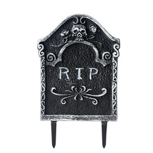 1pcs Plastic Tombstone Halloween Party Decoration RIP Gravestone Graveyard Trick Props Vampire Cemetery Cosplay Decor
