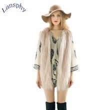 Women Brown Plus Size Faux Fur Vest Special Slim Long Coat XXL Gilet Fourrure Rabbit femme
