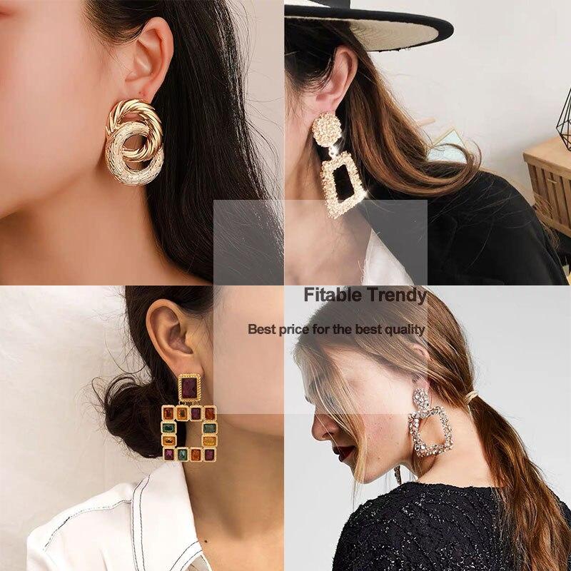 Vintage Geometric Earrings Golden Color Women's Earrings 2020 Big New Fashion Bohemia Drop Earing Modern Jewelry