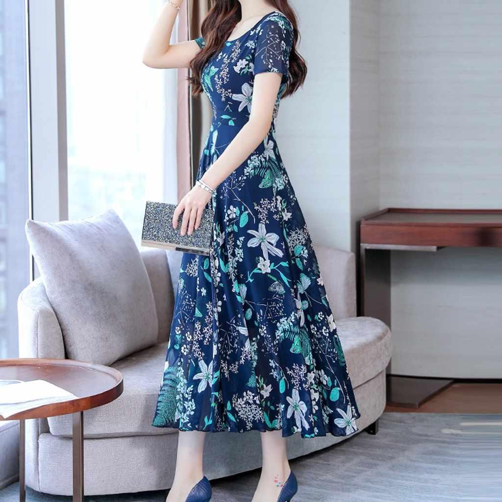 As Mulheres Se Vestem de verão 2019 de Moda de Nova Praia Vestidos Maxi Graça Impressão Vestidos de Festa Vestido Longo Elegante Vestidos de Manga Curta
