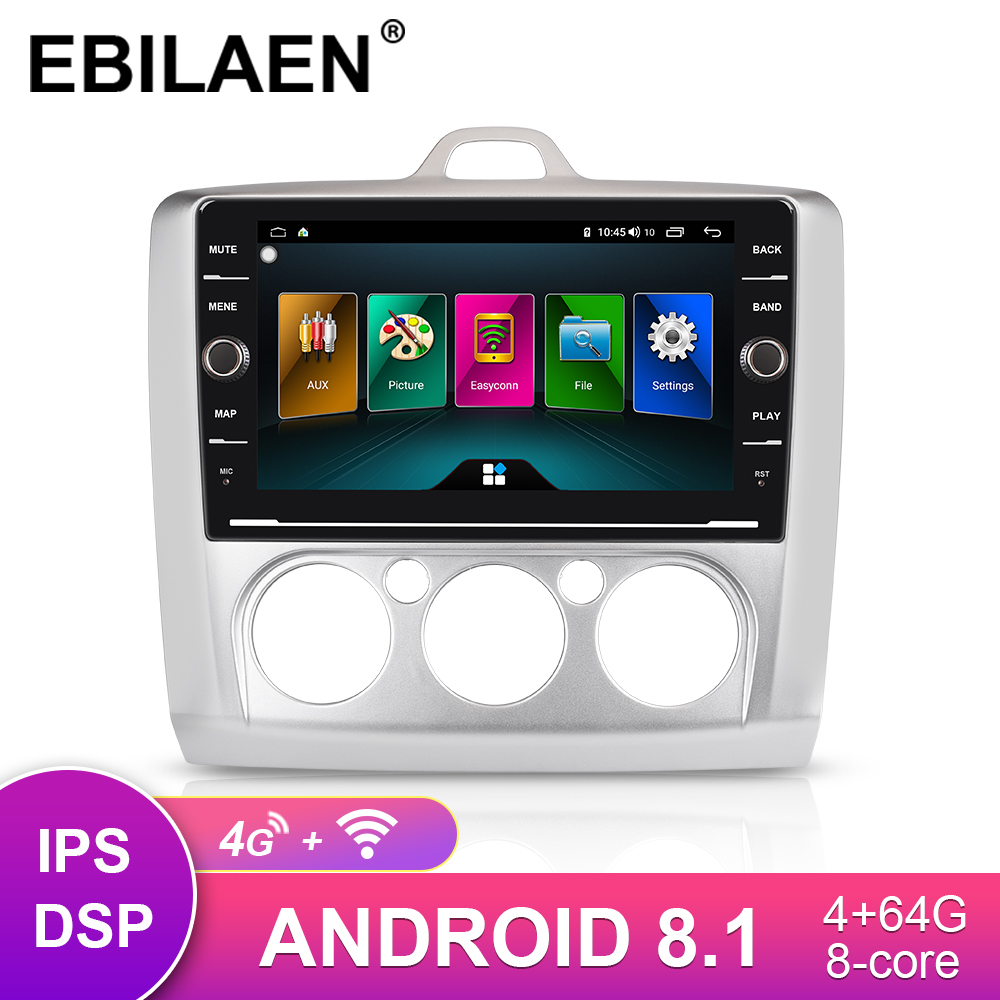 Car GPS <font><b>Multimedia</b></font> Player For <font><b>Ford</b></font> <font><b>Focus</b></font> 2 <font><b>MK2</b></font> 2004-2011 Radio Cassette Recorder 2Din Android 8.1 Autoradio Navigation 4G Wifi image