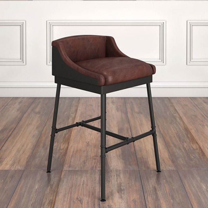 Retro Bar Chair Make Old Iron Art Bar Stand Leisure Chair Stand Brown Soft Cushion Two Kinds Of Sitting Height