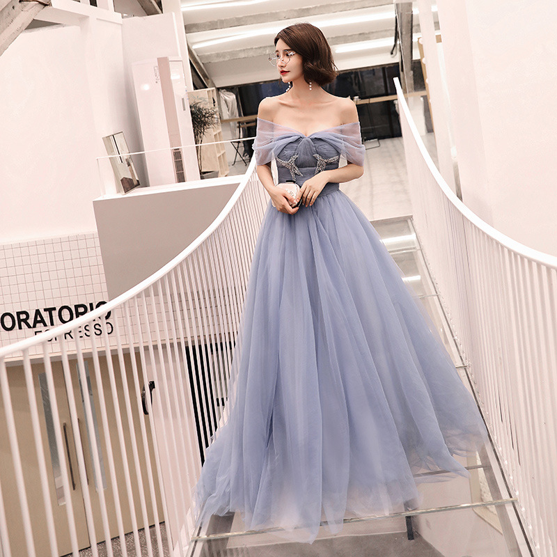 Simple Tulle Off The Shoulder Sequin Beading Vestidos De Festa Backless Pleated Long   Bridesmaid     Dresses   Wedding Party Gowns