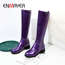 ENMAYER 2019 Fashion Round Toe Cool Motorcycle Boots Square Heel Winter Boots Women Patent Leather Knee High Boots Size 34-43 стоимость