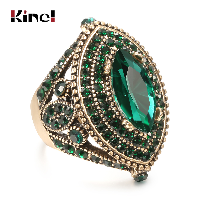 Kinel Luxury Antique Ring For Women Vintage Look AAA Green Crystal Boho Jewelry Gold Color Charm Ethnic Wedding Ring