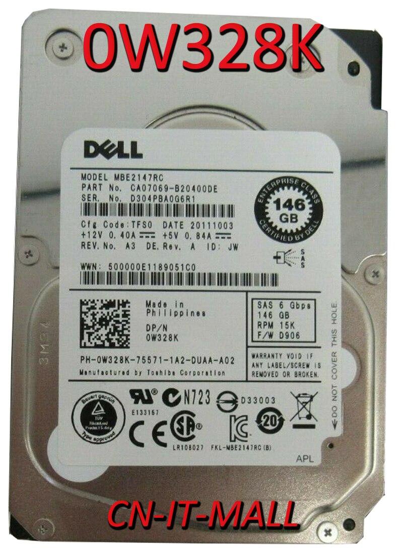 Вытянутый 0W328K W328K MBE2147RC 147 ГБ 15000 об/мин 16 Мб кэш SAS 6 ГБ/сек. 2,5