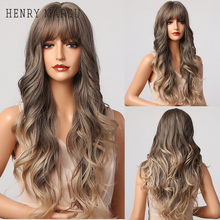 HENRY MARGU Ombre Dark Brown Goleden Honey Wigs with Bangs Long Body Wave Synthetic Wigs for Women Heat Resistant Cosplay Party