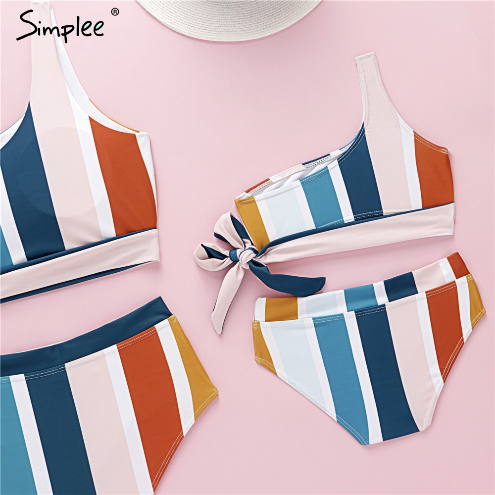 Simplee Plus Size Swimwear Women Bathing Suit Family Swimsuit Female Girl One Shoulder Print Bikini 2019 New Summer Beach Wear