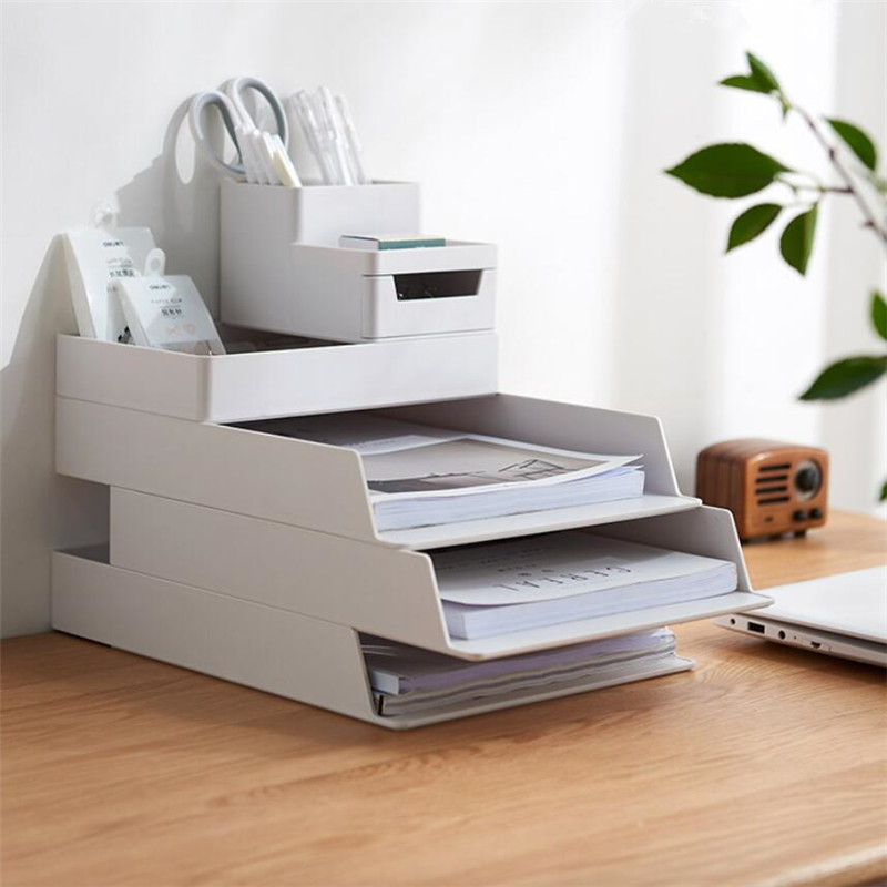New Desktop Storage Box Desk File Tray Pencil Pen Sundries Badge Holder Stationery Organizer With Drawer Office Supplies