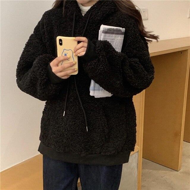 QRWR 2020 Women Hoodie Korean Style Winter Casual Cute Kawaii Warm Sweatshirt Loose Female Pocket Oversized Hoodies for Girls 5