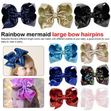 8 Sequin Rainbow Bow With Hair Clip For Girls Kids Handmade Boutique Knot Jumbo Hair Bow Hairgrips Hair Accessories цена