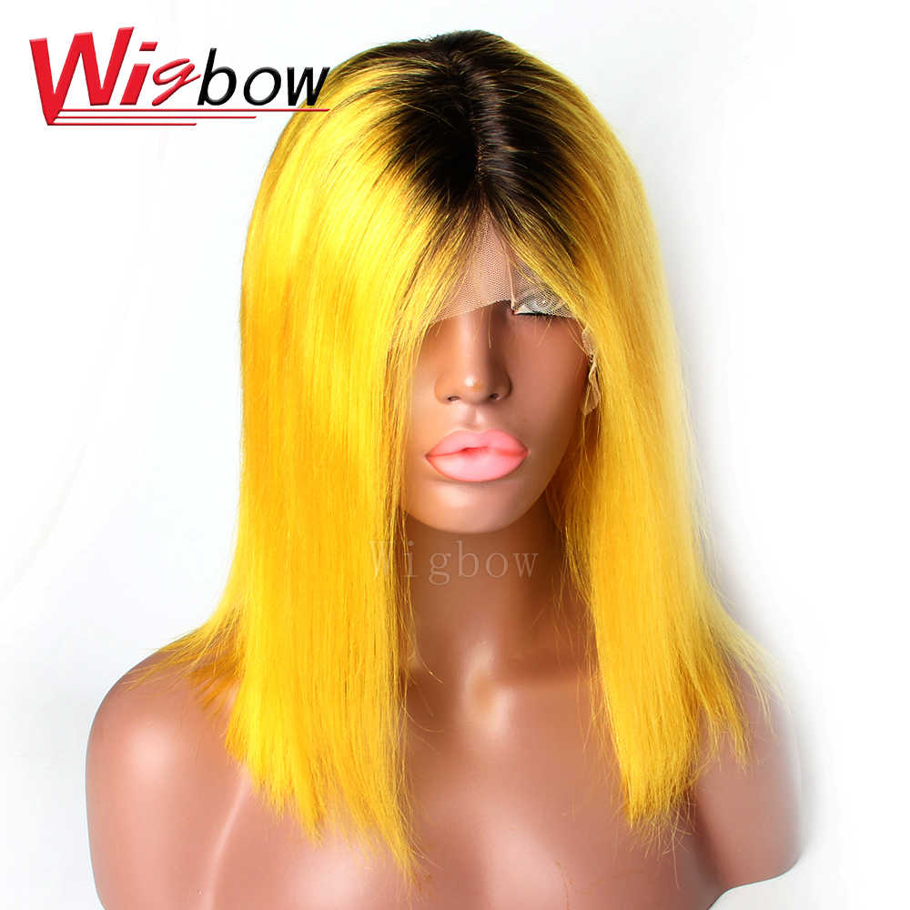 Human Hair Wigs 1B/Yellow Short Bob Wig Ombre Brazilian Straight Lace Front Human Hair Wigs 13x6 Short Wig With Baby Hair