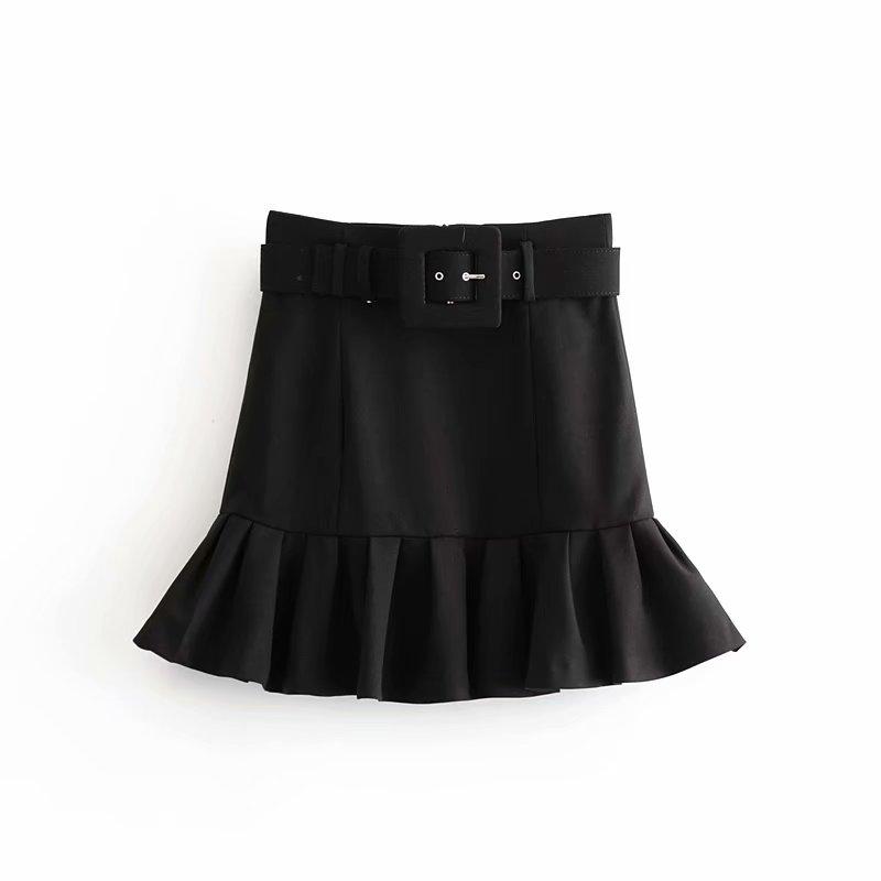 New Women Basic Black Mini Skirt High Waist Belt Back Zipper Hem Pleated Skirt Solid Fashion Female Casual Skirts Mujer QUN547