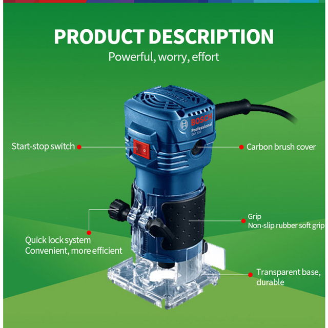 Bosch 550W Woodworking Electric Router trimmer 33000rpm Wood Milling Engraving Slotting Trimming machine Hand Carving Carpentry 2