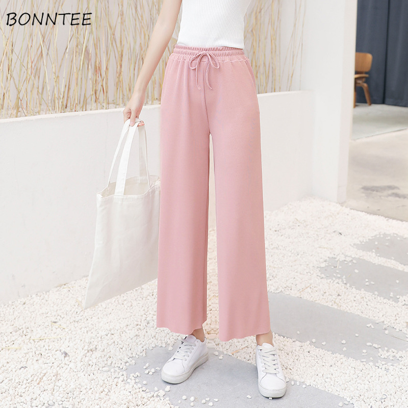 Pants Women High Waist Loose Casual Wide Leg Korean Style Trendy Womens Clothing Solid Color Simple Ankle-Length Summer New Chic