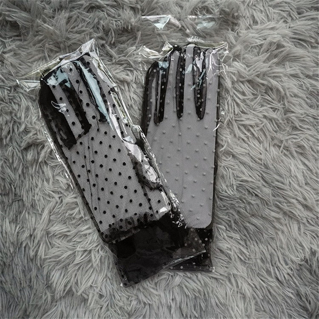 Women's Sexy Guantes Transparentes Dot Print Black White Mesh Tulle Gloves Female Club Prom Party Dancing Dress Glove 3