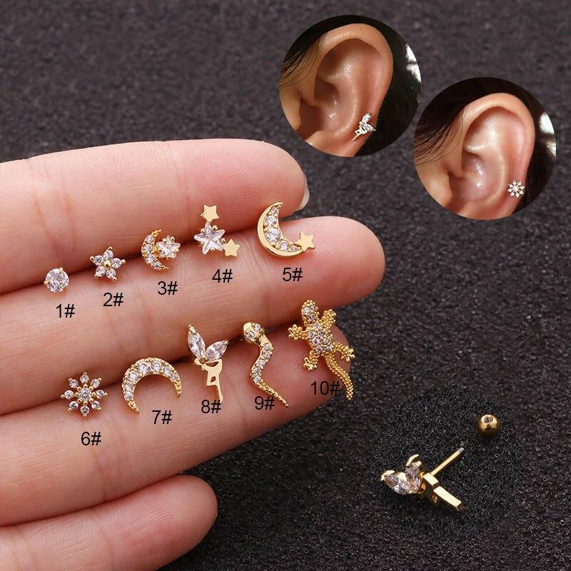 Серьги-гвоздики для пирсинга, ювелирные украшения для пирсинга золотого цвета в форме Луны, звезды, феи, ящерицы, ящерицы, звезды, циркона, уш...