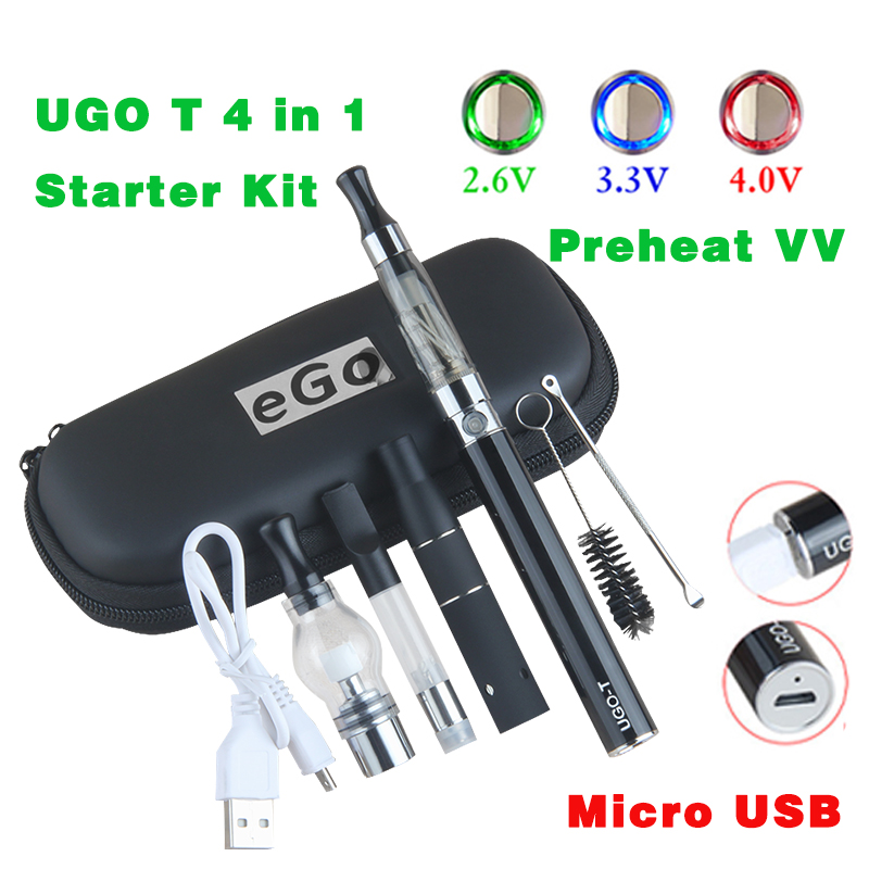 5pin Bottom Charge UGO T 4 In 1 Vaporizer Starter Case Kit CBD Preheat Vaper Wax Dry Herb Thick Oil Carts Eliquid Atomizer 1pcs