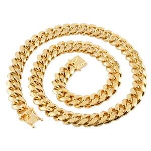 Image 4 - 쿠바 링크 체인 남성 목걸이 프라이드 12mm 14mm 16mm 18mm 스테인레스 스틸 빅 롱 골드 목걸이 chunky necklace male accesories