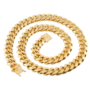 Image 4 - Cuban link chain male necklaces pride 12mm 14mm 16mm 18mm stainless steel big long gold necklace chunky necklace male accesories