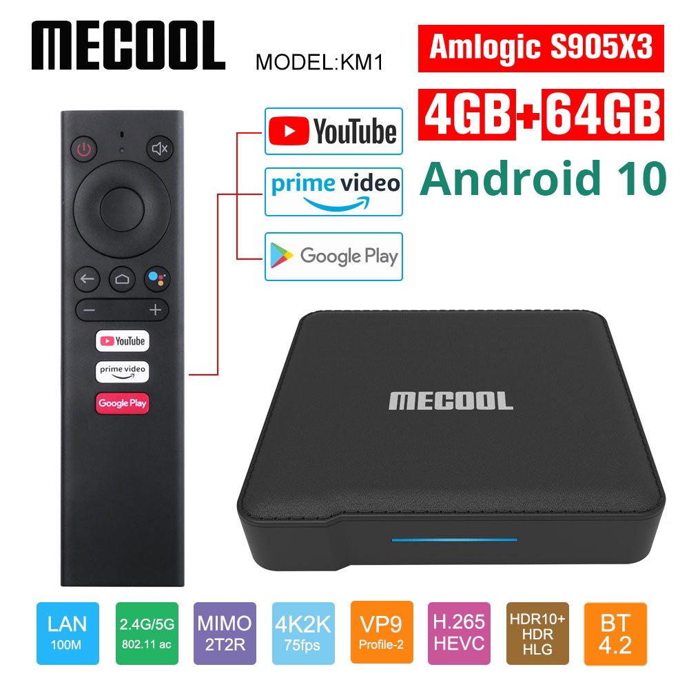 Mecool Google Сертифицированный KM1 Andriod 10,0 4G 64G Amlogic S905X3 A TV box TV Dual Wifi 4K Voice Android tv box Youtube smart box