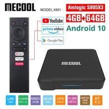 Mecool Google certyfikat KM1 z systemem android 10.0 4G 64G procesor Amlogic S905X3 w TV, pudełko telewizor z dostępem do kanałów podwójny Wifi 4K głos z systemem android tv, pudełko Youtube smart box