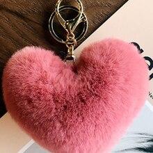 Rosa menina coração-em forma de bola de cabelo pingente livro saco pingente moda ins pelúcia chaveiro do carro
